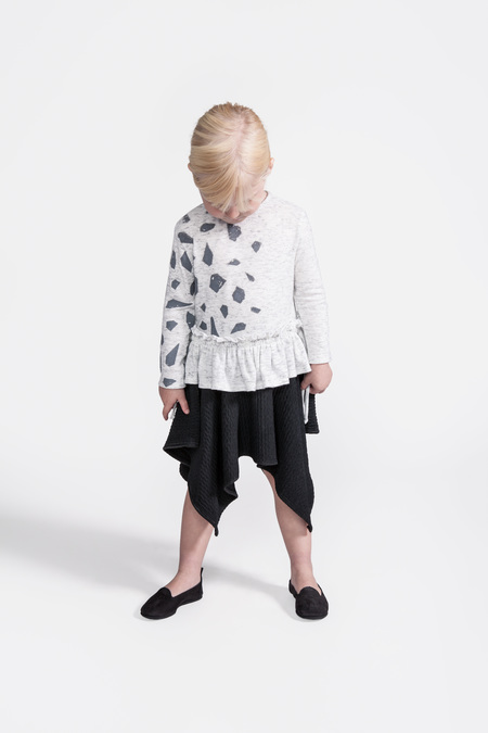 Kid's OMAMImini Peplum Top w/ Side Strings and Iceberg Print White