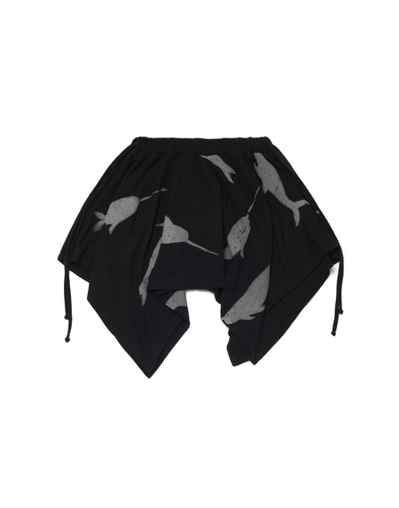 Kid's OMAMImini Knit Handkerchief Skirt w/ Print Black