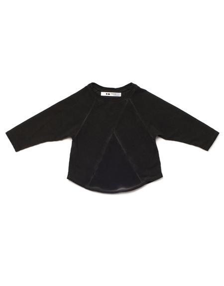 Kid's OMAMImini Terry Longsleeve Sweatshirt w/ Front Pocket Vintage Black