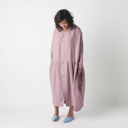 ICHI ANTIQUITE Azumadaki Linen Stripe Shirt Dress in Greyish Pink