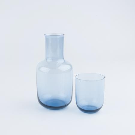 SAIKAI  TOYO-SASAKI GLASS DECANTER & CUP SET IN BLUE