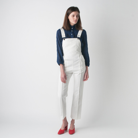 HORSES ATELIER Organic Cotton Canvas Cropped High Waisted Overall in White