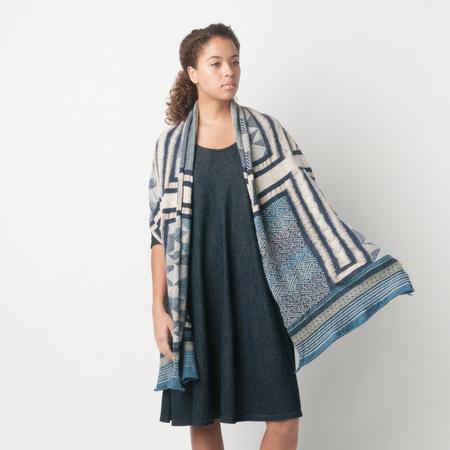 Kapital Compressed Wool Tweed KOGIN CROSS Scarf in Navy