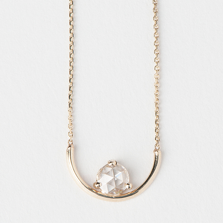 "WWAKE Rose Cut Diamond Arc 16"" Necklace in 14K Yellow Gold"