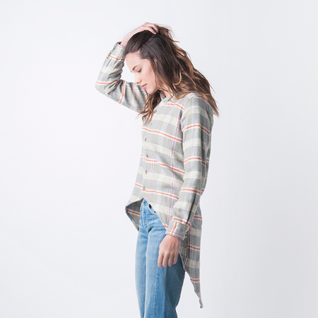 KAPITAL Heavy Flannel Check Duke Collar Tail Shirt in Green and Pink