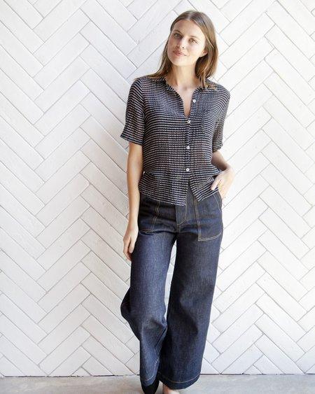 Esby Julie Striped Button Down - Black/White