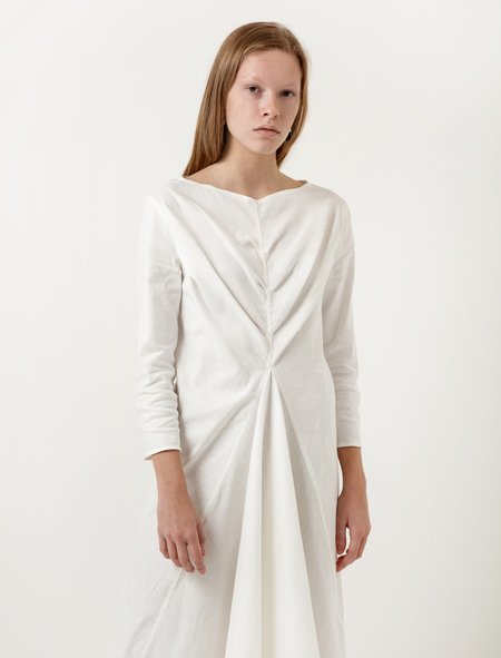 Lemaire Flared Dress Chalk Cotton Linen