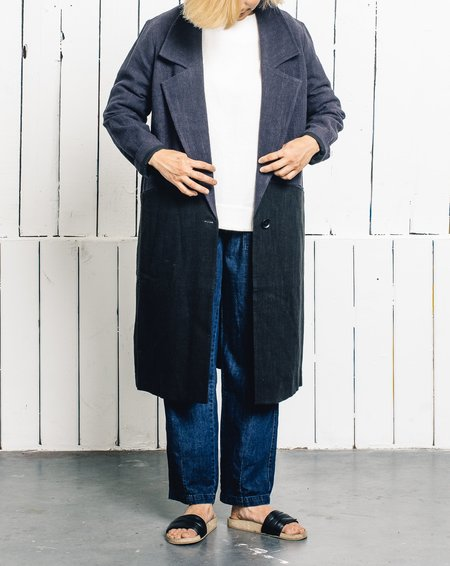 7115 by Szeki Blocked Linen Long Coat