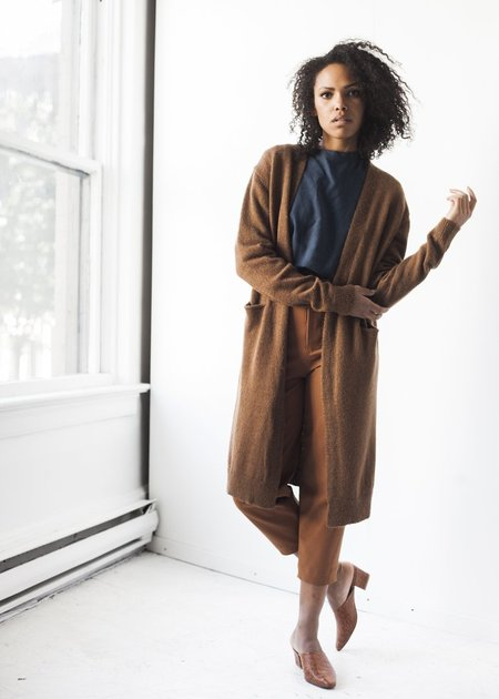 Achro Alpaca Blend Long Cardigan in Brown