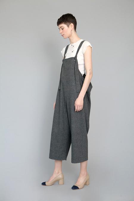 Lera Pivovarova Wool Frida Overalls in Dark Gray Herringbone
