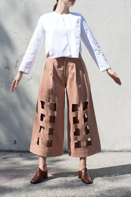 Nancy Stella Soto Denim Cutout Trouser in Bare