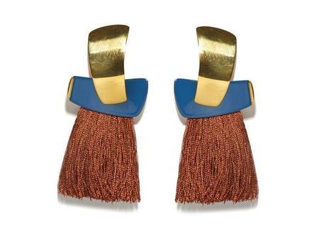 Lizzie Fortunato Totem Tassel Earrings in Navy & Sienna