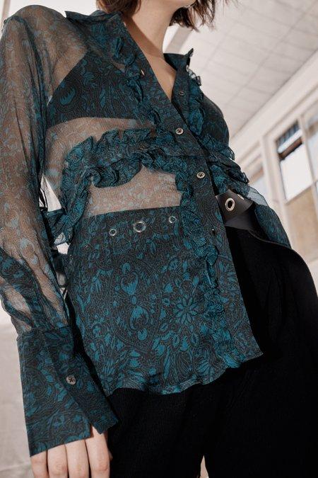 Wynn Hamlyn Silk Chiffon Half Moon Shirt - Teal