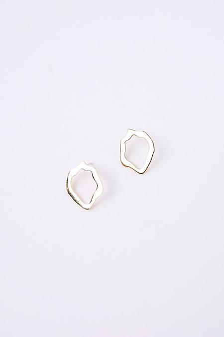 Modern Weaving Small Wave Stud Earring in Brass