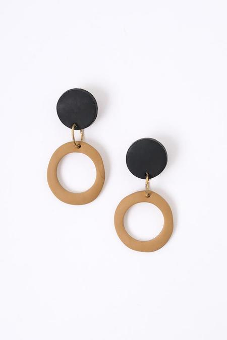 Peppertrain The Jolie Earring in Black and Latte