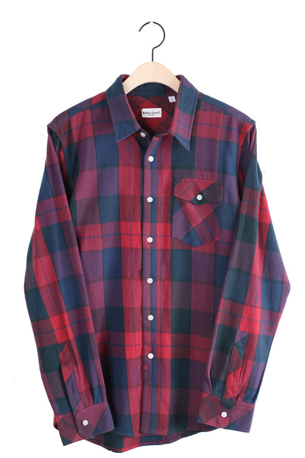 Men's Russel Blue Plaid  Button Down