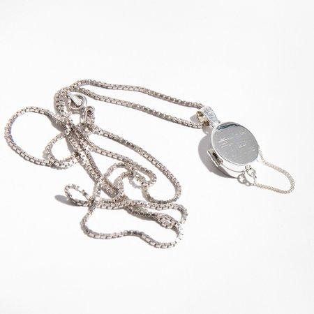 René Habie Oval Sterling Silver Locket Necklace
