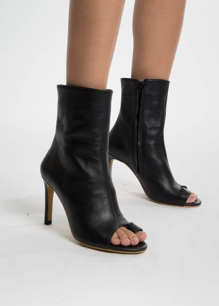 Situationist Black Open Toe Ankle Boots