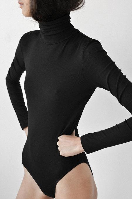 Kamperett Ribbed Knit Bodysuit in Black