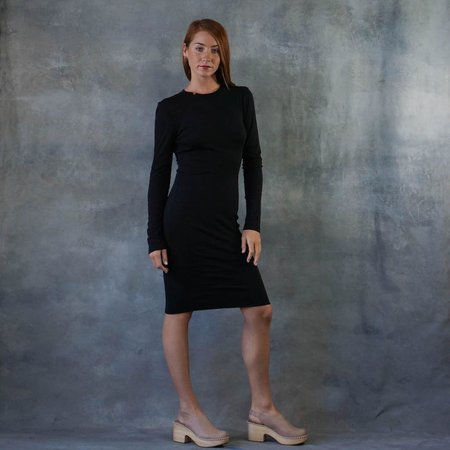 Raquel Allegra Mandarin Long Sleeve Fitted Black Dress
