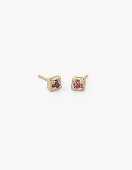 Dream Collective Tiny Square Studs in Pink Sapphire