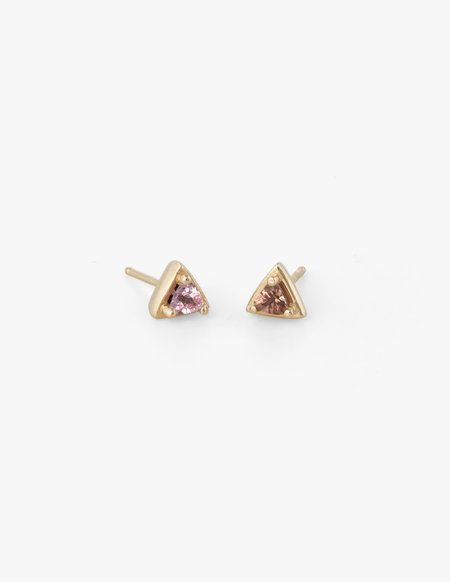 Dream Collective Tiny Triangle Studs in Pink Sapphire