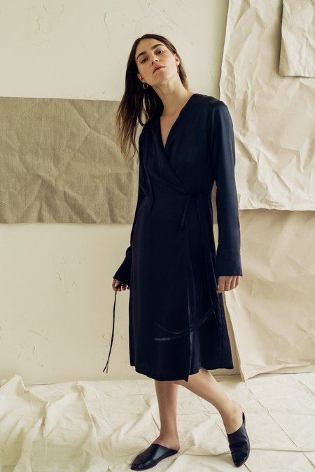 The Great Eros Ereni Wrap Dress with French Cuff in Black