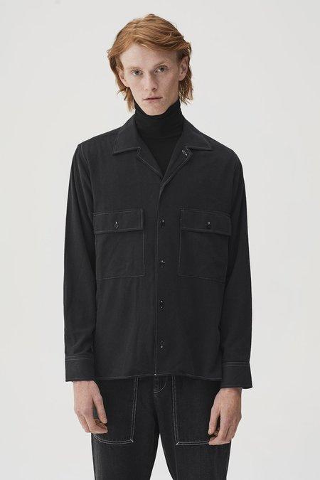 CMMN SWDN Egon Washed Silk Shirt - Black