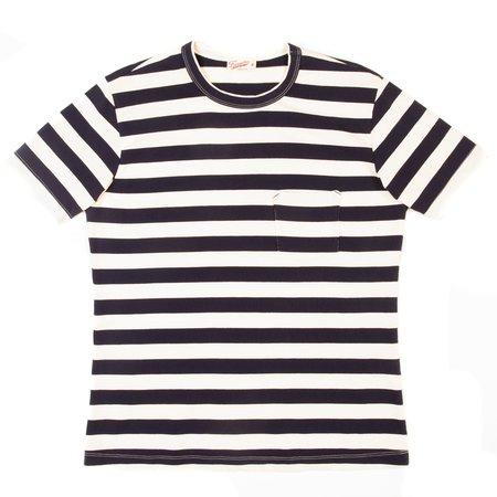 Freenote Cloth Shifter Short Sleeve Tee - Navy/Natural Stripe