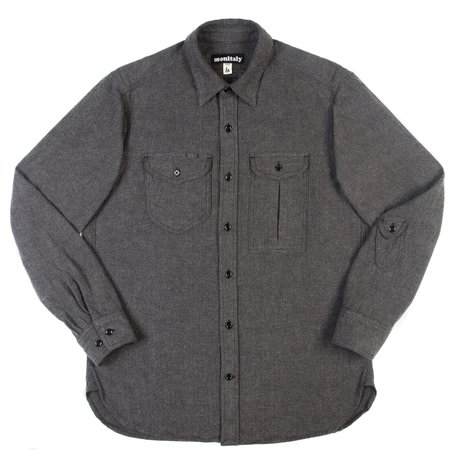 Monitaly Triple Needle Shirt - Charcoal Herringbone Flannel