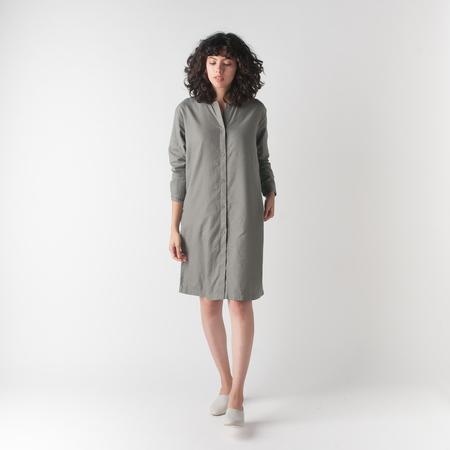 EVAM EVA Cotton Cashmere Shirt Robe in Otter Grey