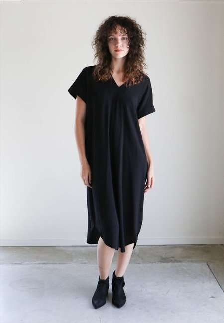 7115 By Szeki Cap Sleeve Reversible Maxi in Black