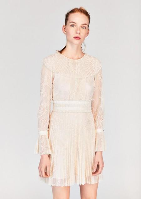 Tara Jarmon Cream Lace Pleated Dress