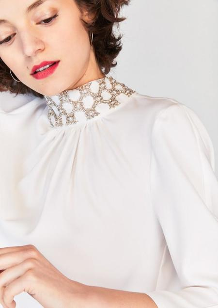 Tara Jarmon Crepe Blouse with Beaded Collar