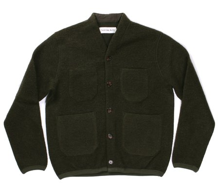Universal Works Cardigan - Olive Wool Fleece