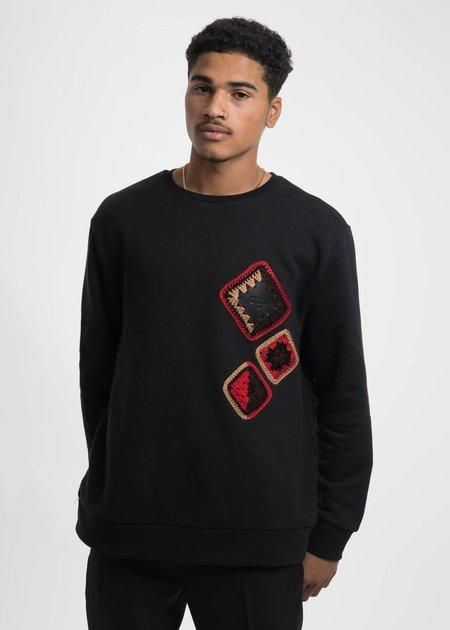 CMMN SWDN Black Coen Crochet Sweatshirt
