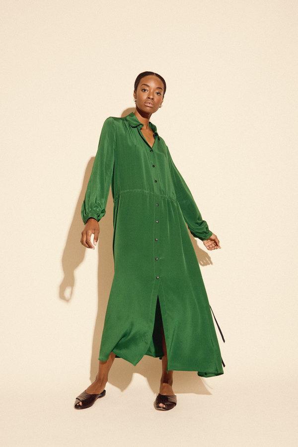 Kamperett Marian Silk Midi Dress - Emerald