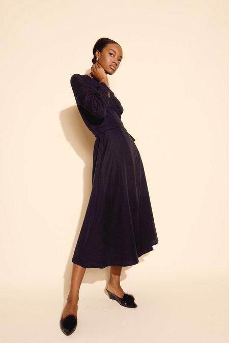 Kamperett Ellie Midi Wrap Dress - Midnight