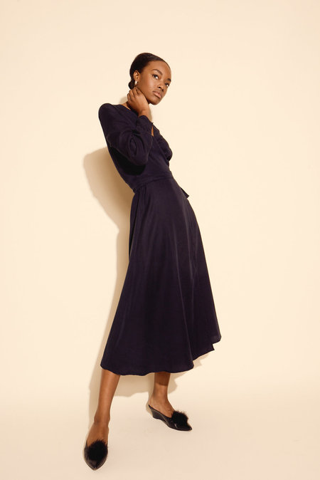 Kamperett Ellie Midi Wrap Dress - Midnight Navy