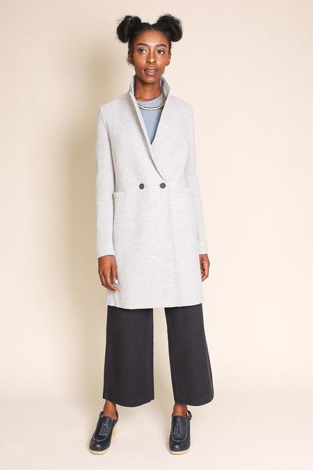 Harris Wharf London Double Breasted Coat in Grey Mouliné