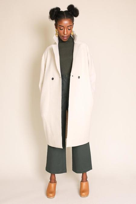 Harris Wharf London Dropped Shoulder Coat in Cream