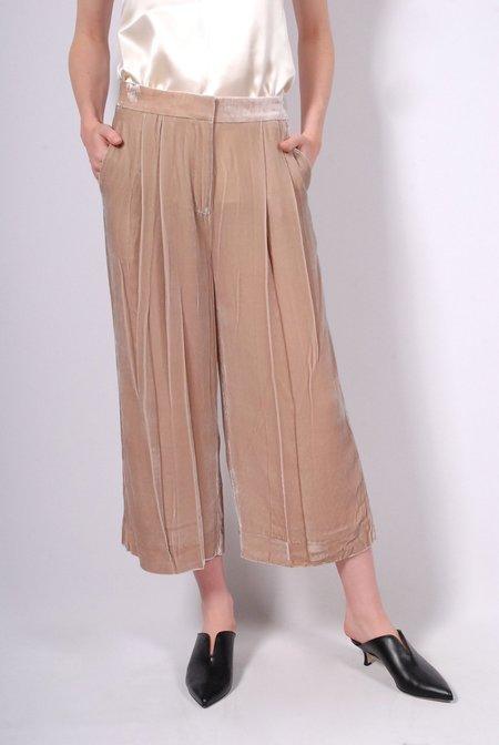 Tibi Silk Velvet Stella Wide Leg Culotte - Marble