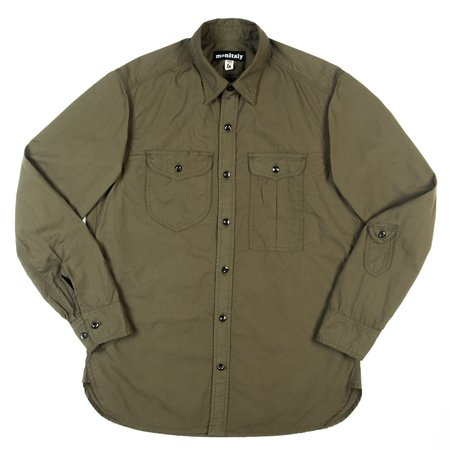 Monitaly Triple Needle Shirt - Olive Poplin Vancloth
