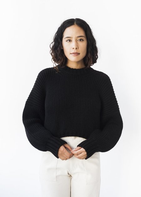 First Rite Crew Crop Sweater in Black