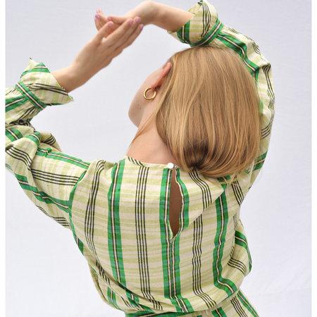 Nikki Chasin Ruffle Sleeve Top - Jade Silk Plaid