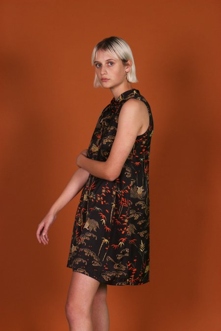 Birds of North America Tattler Dress - Black Bamboo