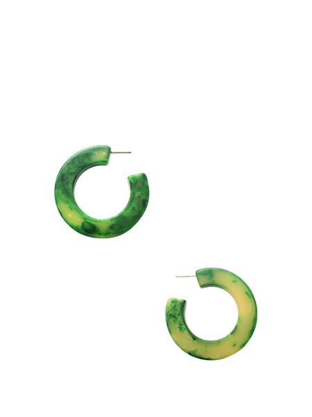Beth Vintage Jewelry Green Marbled Bakelite Hoops - Bakelite