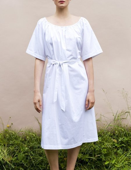 Sunja Link Gathered Neck Dress- White