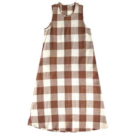 Ali Golden Crew-neck Dress - Chestnut Plaid