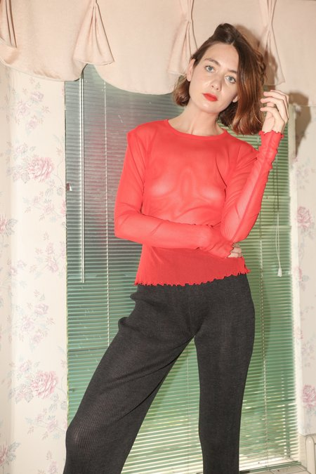 PRISCAVera Long Sleeve Mesh Top in Red